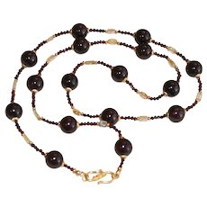 Long Red Garnet Station Necklace with Citrine Accents