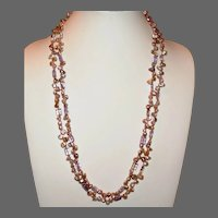 Gorgeous Double Strand Biwa Pearl Necklace with Ametrine