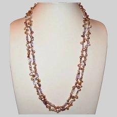 Gorgeous Double Strand Biwa Pearl Necklace with Ametrine