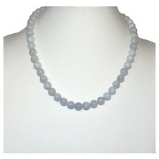 Natural Celestite Bead Necklace with Sterling Silver