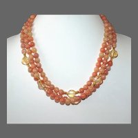 Natural Peach Calcite and Citrine Multi- Strand Necklace