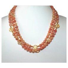 Natural Peach Calcite and Citrine Multi- Strand Necklace