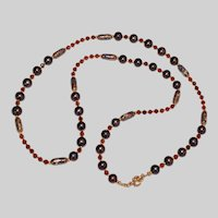 Bronze Peacock Freshwater Pearl, Hessonite Garnet and Cloisonné  Long Necklace