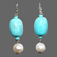 Nacozari Turquoise with Pearls Drop Earrings