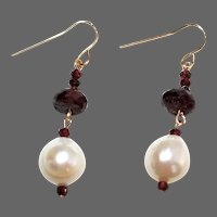 Garnet and Baroque Freshwater Pearl Earrings