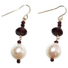 Garnet and Baroque Freshwater Pearl Earrings