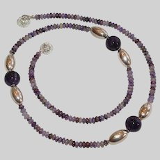 Purple Russian Charoite Necklace with Silver-tone Accents