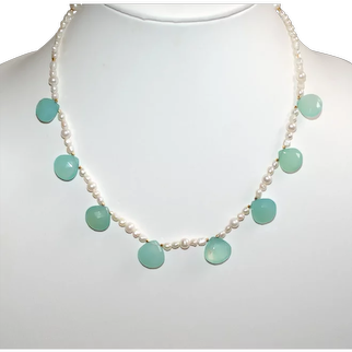 Aqua Chalcedony Briolettes and FreshwaterPearl Short Necklace