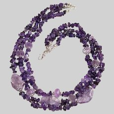 Amethyst Triple Strand Necklace with Sterling Silver