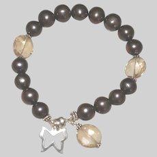 Bronze Peacock Pearl,  Ametrine and Sterling Silver Bracelet