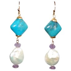 Nacozari Turquoise and Baroque Pearls with Amethyst Earrings