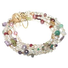 Freshwater Baroque Pearls and Gemstone Six Strand Bracelet