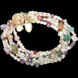 Freshwater Baroque Pearls and Gemstone Six Strand Bracelet
