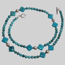 Kingman and Nacozari Turquoise with Sterling Silver  Necklace