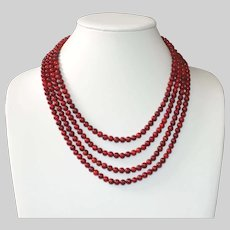Red  Bamboo Coral Four Strand Necklace