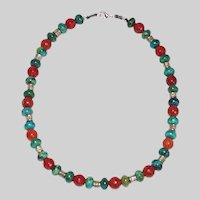 Chrysocolla and Red Agate Necklace