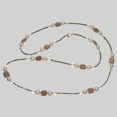Natural Chalcedony, Freshwater Pearls and Citrine Long Station Necklace