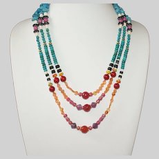Colorful African Style Mixed Bead Statement Necklace