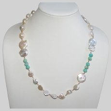 Mixed  Baroque Freshwater Pearl and Peruvian Amazonite Necklace
