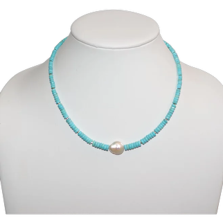 Nacozari Turquoise Heishi with Freshwater Baroque Coin Pearl Necklace