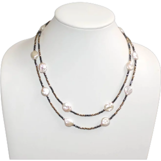 Baroque Coin Pearl with Pyrite and Hematite Necklace