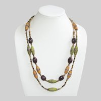 Handpainted African Glass Beads and  Green Garnet Statement Necklace