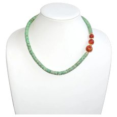 Luscious Green Variscite Necklace with Rare Vintage  Apple Coral Necklace