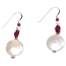 Freshwater Baroque Coin Pearl and Garnet Drop Earrings Sterling Silver
