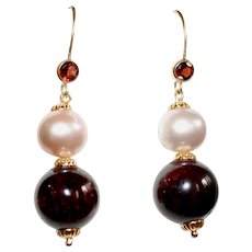 Garnet and Freshwater Pink Pearl Earrings 14 Gold-filled