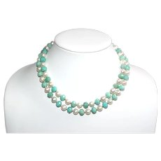 Long Necklace of Peruvian Amazonite and White Freshwater Pearls