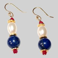 Patriotic Earrings of Lapis, Pearl and Ruby  Gold-filled
