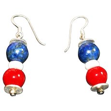 Red Mother-of-Pearl, Bone and Navy Blue Dumortierite