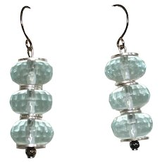 Sparkling Caribbean Blue Aqua Aura Quartz Earrings Sterling Silver