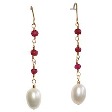 Ruby and Cultured Pearl Dangle Earrings