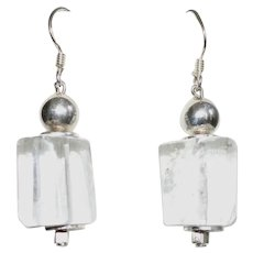 Large Clear Rock Crystal Quartz and Sterling Silver Earrings
