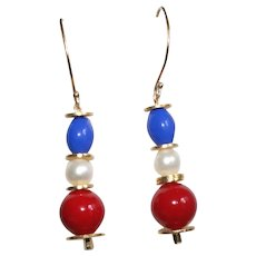 Patriotic Red, White and Royal Blue Earrings  Gold-filled
