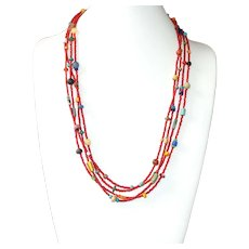 Fascinating African Bead Mix Multi-strand Necklace
