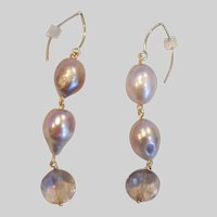 Mauve Baroque Cultured Pearls and Ametrine Statement Earrings 14K Gold-filled