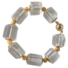 Icy Clear Rock Crystal Quartz Chunky Bracelet