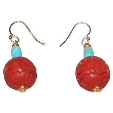 Carved Cinnabar and Natural Nacozari Turquoise Earrings Gold-filled