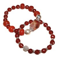 Pair of Carnelian and Balinese Silver Bracelets