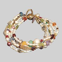 Six Strand Bracelet of  Freshwater Baroque Pearls and Gemstones
