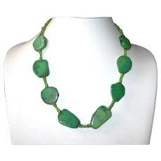 Bright Green Stone Statement Necklace