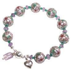 Vintage Cloisonné Bracelet with Amethyst and Emeralds - Sterling Silver