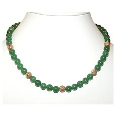 Lovely Green Jade Necklace with Vintage Cloisonné  Accents - 14K Gold-filled