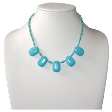 Natural Sky Blue Nacozari Turquoise Petal Necklace