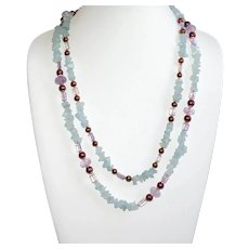 Natural Rough Aquamarine with Burgundy Pearls, and Amethyst Double Strand Necklace
