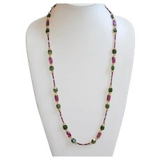 Canadian Jade and Zambian Amethyst with Citrine and Garnet Long Necklace
