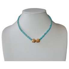 Nacozari Turquoise Heishi Necklace with Handcrafted Brushed Vermeil Nuggets