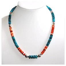 Kingman Turquoise and Spiny Oyster Southwestern Style Necklace Sterling Silver